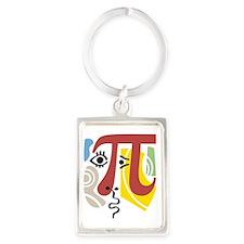 Pi Symbol Pi-Casso Portrait Keychain