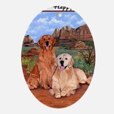 twodogs_bdaynote Oval Ornament