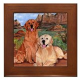 Dog painting golden retrievers Framed Tiles