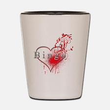 Bingo Heart Floral Reto 2 Shot Glass