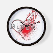 Bingo Heart Floral Reto 2 Wall Clock