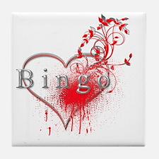 Bingo Heart Floral Reto 2 Tile Coaster