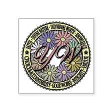 """Young Women Flower Color Square Sticker 3"""" x 3"""""""