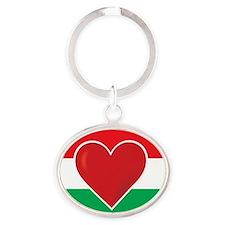 Heart Hungary Flag Oval Keychain
