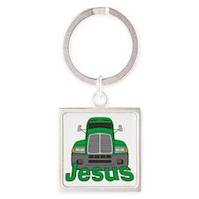 jesus-b-trucker Square Keychain