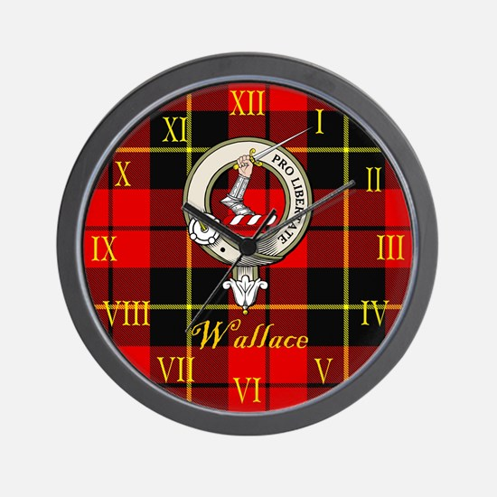 Wallace Clan Crest / Tartan Wall Clock