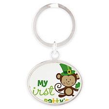 Monkey1stStPatricksDay Oval Keychain