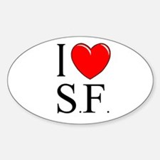 """""""I Love S.F."""" Oval Decal"""