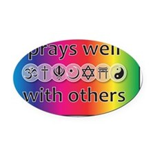 prays-well-with-others-journal Oval Car Magnet