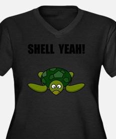 Shell Yeah B Women's Plus Size Dark V-Neck T-Shirt