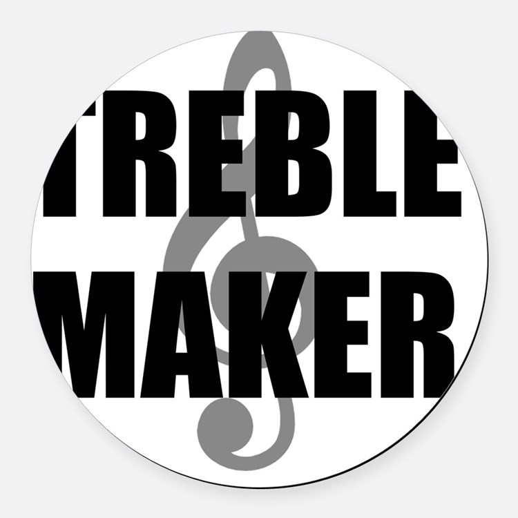 Treble Maker Black Round Car Magnet