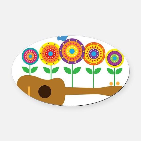 Ukulele Flowers Oval Car Magnet