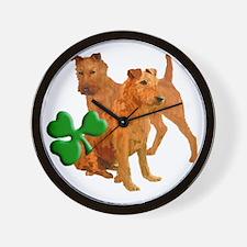 irish terriers with shamrock Wall Clock
