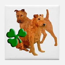 irish terriers with shamrock Tile Coaster