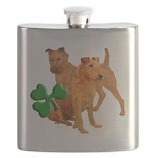 irish terriers with shamrock Flask