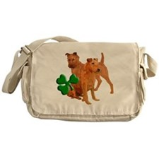 irish terriers with shamrock Messenger Bag