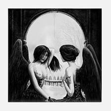 skull illusion square Tile Coaster
