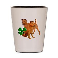 irish terriers with shamrock Shot Glass