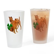 irish terriers with shamrock Drinking Glass