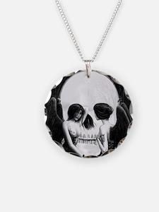 skull illusion square Necklace