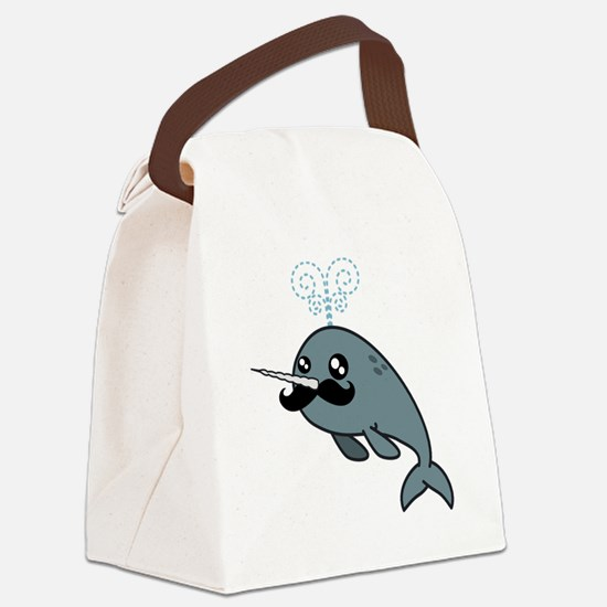 Narwhal Mustache Canvas Lunch Bag