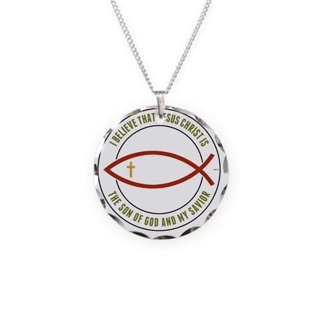 Feb12 christian fish colors necklace circle charm by admin for Christian fish necklace