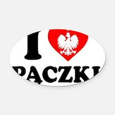 I Love Paczki Polish Apron Oval Car Magnet