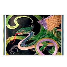 (G) dragon tile - GoldNPr Postcards (Package of 8)