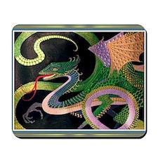 (G) dragon tile - GoldNPrussian (Tif) Mousepad