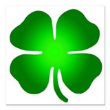 Green 4 leaf clover Square Car Magnets