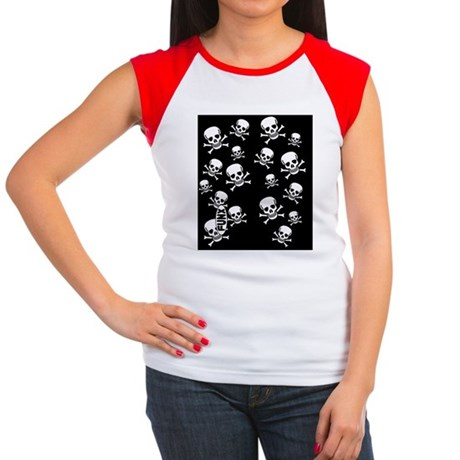 SkullCrossbonesBLKWHIT Women's Cap Sleeve T-Shirt