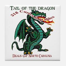 Flaming Dragon Tail of the Dragon Dea Tile Coaster