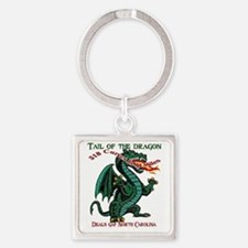 Flaming Dragon Tail of the Dragon  Square Keychain