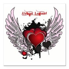 "Urban Legend Red Heart W Square Car Magnet 3"" x 3"""
