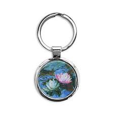 Water Lily Art Round Keychain