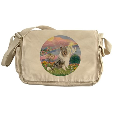 R-CloudAngel-BlueMerleCollie Messenger Bag