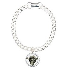 Queen di-faced button Charm Bracelet, One Charm