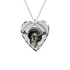 Queen di-faced button Necklace Heart Charm