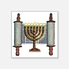 "Torah Menorah Square Sticker 3"" x 3"""