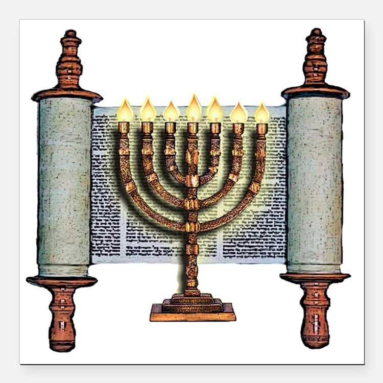 "Torah Menorah Square Car Magnet 3"" x 3"""