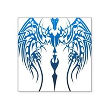 "blue tribal dragon Square Sticker 3"" x 3"""