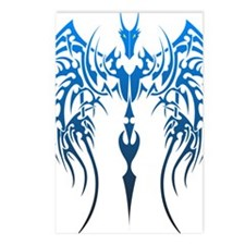blue tribal dragon Postcards (Package of 8)