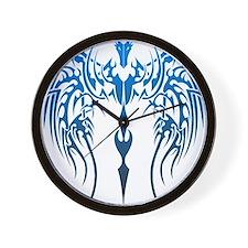 blue tribal dragon Wall Clock