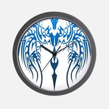 blue tribal dragon Wall Clock