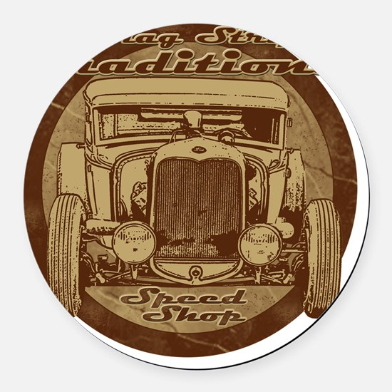 drag strip speed shop Round Car Magnet