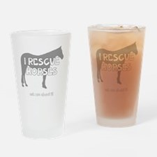 IRescuehorses_black Drinking Glass
