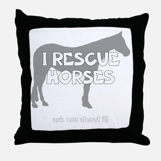 IRescuehorses_black Throw Pillow