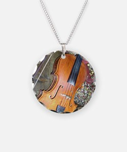 fiddle Necklace Circle Charm