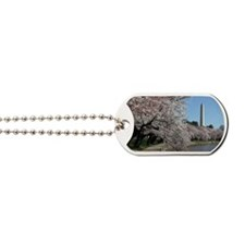 Peal bloom cherry blossom frames Washingt Dog Tags