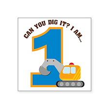 "Digger1stBirthday Square Sticker 3"" x 3"""